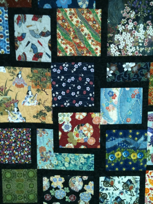 Featuring oriental fabrics, this is a stunning quilt