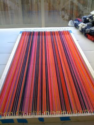 Katherine created 80 warp threads on a balsa wood frame