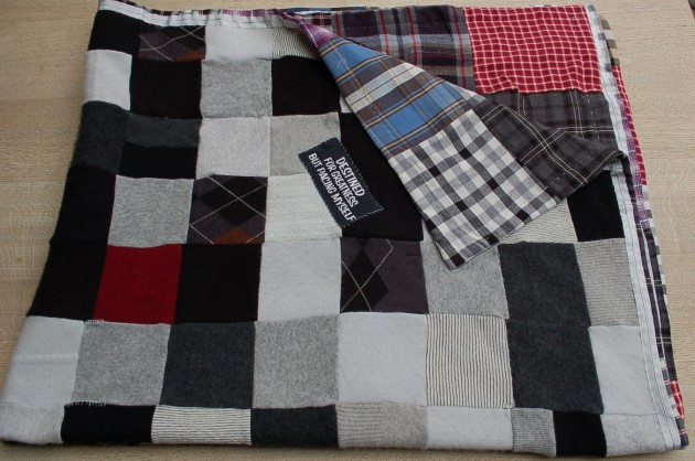 This mother sewed together her boys' old clothes into a quilt